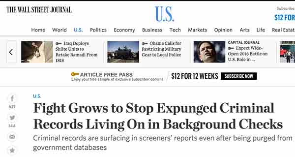 Wall Street Journal artictle explaining the expungement  problem